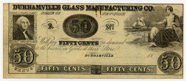 New York, Durhamville, Durhamville Glass Manufacturing Co., 50 Cents, 18B, (1850s)