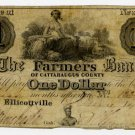 New York, Ellicottville, Farmers Bank of Cattaraugus County, $1, June 14, 1843