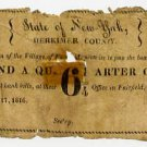 New York, Fairfield, Village of Fairfield, 6 1/4 Cents, December 17, 1816