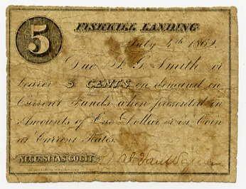 New York, Fishkill Landing (now Beacon), Wal? Van Wagner?, 5 Cents, July 4, 1862