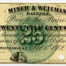 New York, Friendship, Allegany County, M.C. Mulkin & Co., 25 Cents, Dec 1, 1862
