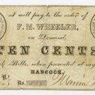New York, Hancock, F.M. Wheeler, 10 Cents, Oct 28, 1862