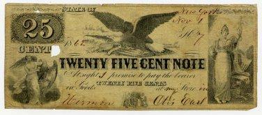 New York, Hermon, Otis Earl, 25 Cents, Nov 1, 1862