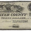 New York, Kingston, The Ulster County Bank, $3, 18-- (1840s)
