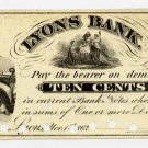 New York, Lyons, (N.R. Mirick), 10 Cents, Nov 1, 1862