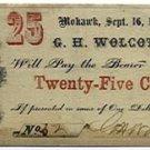 New York, Mohawk, G.H. Wolcott, 25 Cents, September 16, 1862