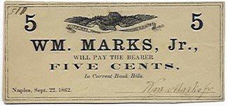 New York, Naples, Wm. Marks, Jr., 5 Cents, September 22, 1862