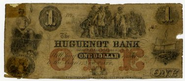 New York, New Paltz, Huguenot Bank, $1, 18--, (late 1850s), NY-1415-G2a
