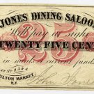 New York, New York, Jones Dining Saloon, 25 Cents, no date (1862), H615