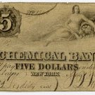 New York, New York, Chemical Bank, $5, May 1, 1854