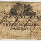 New York, New York, Franklin Bank, $3, July 13, 1818