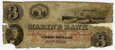 New York, New York, Marine Bank, $3, 1863