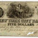 New York, New York, New York City Bank, $5, Sept 10, 1840