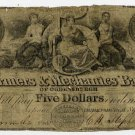 New York, Ogdensburgh, Farmers and Mechanics Bank of Ogdensburgh, $5, Sept 1, 1843