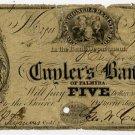 New York, Palmyra, Cuyler's Bank of Palmyra, $5, Jan 1, 1854