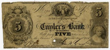 New York, Palmyra, Cuyler�s Bank of Palmyra, $5, Jan 1, 1854