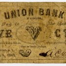 New York, Rochester, AC Worden, Oyster Bay, 5 Cents, November 1, 1862