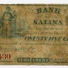 New York, Syracuse, Bank of Salina, 25 Cents, Nov 1, 1862