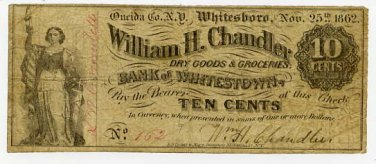 New York, Whitesboro, William H Chandler, 10 Cents, Nov 25, 1862