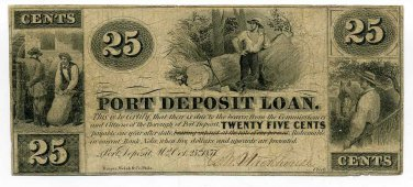 Maryland, Port Deposit Loan, 25 Cents, Oct 25th, 1857