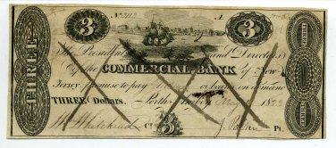 New Jersey, Perth Amboy, Commercial Bank, $3, May 12, 1823