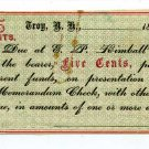 New Hampshire, Troy, EP Kimball, 5 Cents, 186-, (1862-64)