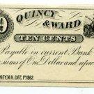New Hampshire, Rumney, Quincy & Ward, 10 Cents, Dec 1, 1862
