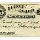 New Hampshire, Rumney, Quincy & Ward, 25 Cents, Dec 1, 1862