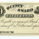New Hampshire, Rumney, Quincy & Ward, 50 Cents, Dec 1, 1862