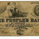 New Jersey, Paterson, People's Bank of Paterson, $2, June 1st, 1849