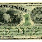 State of South Carolina, Columbia, $1, December 1, 1873