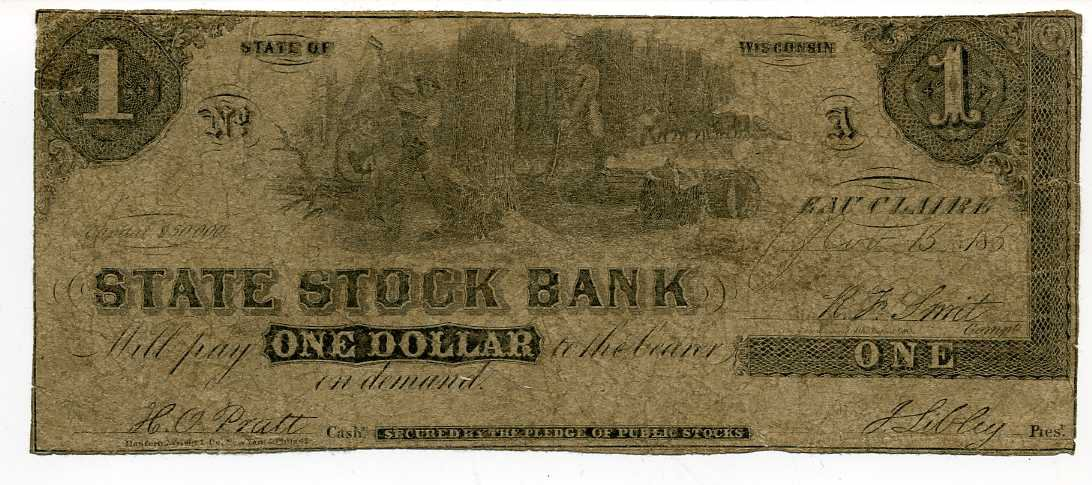 Wisconsin eau claire state stock bank 1 november 15 1853 for Jewelry stores in eau claire wi