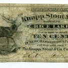 Wisconsin, Rice Lake, Barron County, Knapp, Stout & Co., 10 Cents, ND(1870s-80s)