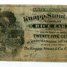 Wisconsin, Rice Lake, Barron County, Knapp, Stout & Co., 25 Cents, ND(1870s-80s)