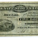 Wisconsin, Rice Lake, Barron County, Knapp, Stout & Co. $5, ND(1870s-80s)