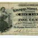 Wisconsin, Rice Lake, Barron County, Knapp, Stout & Co., 5 Cents, ND(1870s-80s)