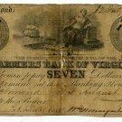 Virginia, Richmond, Farmers Bank of Virginia, $7, July 12, 1852