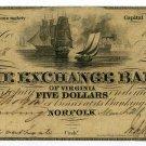 Virginia, Petersburg, The Exchange Bank of Virginia, $5, March 21, 1850