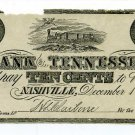Tennessee, Nashville, The Bank of Tennessee, 10 Cents, December 1, 1861