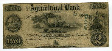 Tennessee, Brownsville, The Agricultural Bank, $2, August 1, 1855
