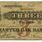 Connecticut, Hartford, Charter Oak Bank, $3, Sept 1, 1862