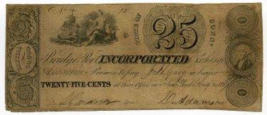 Connecticut, Bridgeport Incorporated Exchange Association, 25 Cents, Aug 4, 1837