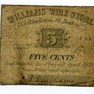 Massachusetts, Boston, Williams Wine Store, 5 Cents, No Date (1862-64)