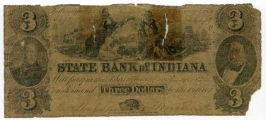 Indiana, Indianapolis, State Bank of Indiana, $3, January 1, 1851