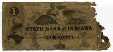 Indiana, Indianapolis, State Bank of Indiana, $1, January 18??