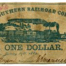 Mississippi, Vicksburg, Southern Railroad Company, $1, January 27, 1862