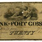 Mississippi, Port Gibson, Bank of Port Gibson, $20, 18--(1840s)