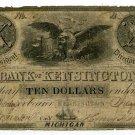Michigan, Kensington, Bank of Kensington, $10, Jany 4, 1838