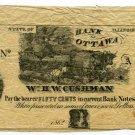 Illinois, Ottawa, William HW Cushman, 50 Cents, 1862, payable at Bank of Ottawa
