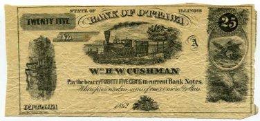 Illinois, Ottawa, William HW Cushman, 25 Cents, 1862, payable at Bank of Ottawa